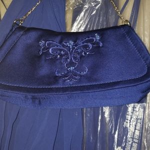 Royal Blue Gown with purse and scarf
